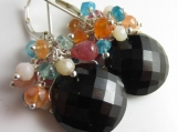 Candy Confetti Earrings - Gem Melange on top of Black Spinel