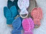 Crocheted Cotton Bunny Ear Baby Teether Rings