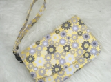Yellow Floral Eclipse Pouch: Zippered Clutch with Strap
