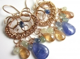 Gemstone Rain Earrings - Tanzanite, Sapphire and Imperial Topaz in 14k Rose Gold Filled Wrapped Chandeliers