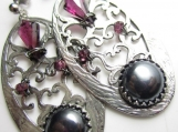 Hematite, Garnet, and Sterling Silver Earrings