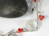Holly Vine Necklace - Sterling Silver and Moonstone with Coral