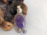 Purple Mohave Turquoise .999 Silver Pendant with Amethyst