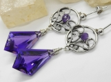 Regal Purple Earrings - Amethyst Kites and Sterling Filigree