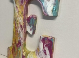 Shiny Initial Wooden Letter E one of a kind