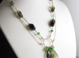Sprout Necklace - Gold Fill, quartz, Peridot, Chrome Diopside