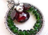 Winter Wreath Necklace - Garnet and Chrome Diopside in Silver