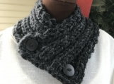 Women's Knitted Collar/Cowl - Charcoal Grey(Dark Grey)
