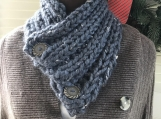 Women's Knitted Collar/Cowl -  Dark Grey Tweed