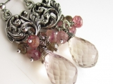 Ametrine, Pink Tourmaline, Andalusite and Sterling Silver Gem Earrings