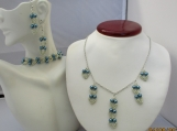 BLUE & SILVER beaded necklace; bracelet and earring set