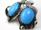 Blue Smoke Earrings - Turquoise and Sterling Silver