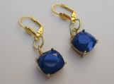Blue Squarecut earrings with self clasping ear hooks