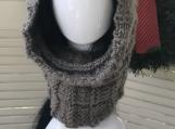 Women's Cowl/Head Scarf - Stone/Grey Tweed