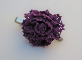 CROCHET hairclip pin purple flower pin/ hairclip
