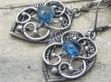 Dew Drops Earrings - Sterling and Fine Silver Wrapped with London Blue Topaz