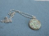 faux OPAL pendant  round pendant with chain