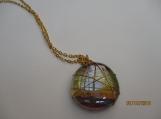Wirewrapped glass pendant