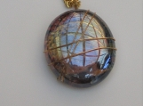 wire wrapped glass pendant with chain