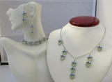 GREY & SILVER beaded necklace; bracelet and earring set