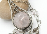 Her Majesty Marguerite Necklace - Morganite in Silver