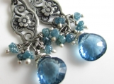 La Jolla Azul Earrings - London Blue Topaz, Diamonds in Silver