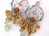 Mint and Honey Earrings - Prasiolite, Sapphire, Citrine and Sterling Filigree