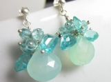 Mint Tea Earrings - Aqua Chalcedony with Apatite on Silver