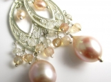 Peach Freshwater Pearl Chandeliers in Sterling Silver