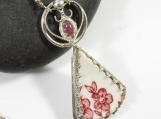 Pink Blossom Necklace - Vintage Pottery Shard in Sterling SIlver