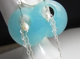 Seafoam Green Hoops in Silver with Freshwater Pearl