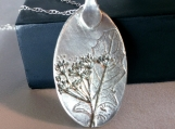 Silver Dandelion Leaf & Wishes Pendant, Silver Necklace, Unique Art Clay Jewelry, Fine Silver Metalwork, Pure Silver, one of a kind