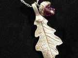 Silver Oak Leaf & Acorn Pendant, Silver Necklace, Unique Art Clay Jewelry, Fine Silver Metalwork, Pure Silver,one of a kind, amethist