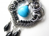 Sleeping Beauty Necklace - Black Spinel and Turquoise Wrapped in Silver