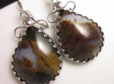 The Mossy Plume Earrings - Plume Agate in Sterling