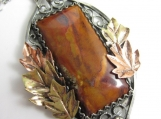 The Turning Leaves Necklace - Hand-Pierced Sterling, Copper and Brass with Rojo Durango Agate