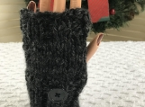 Womens Knitted Fingerless Gloves - Charcoal Grey/Dark Grey