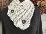 Women's 2-Buttoned Knitted Collar/Cowl -  Oatmeal