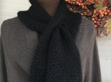 Women's Knitted Keyhole Scarf - Black with Pom Pom
