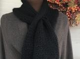 Women's Knitted Keyhole Pom Pom Scarf and Earwarmer Black