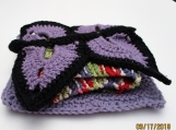 3 Piece kitchen set  hand knit and crochet lavendar set