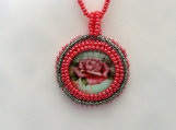 Beaded Rose  Cabochon  necklace