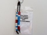 Biker bead/ military medal keychain U.S. airforce cross ribbon with silver star ribbon