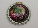 Bottle cap glass pendant glass multicolor with faux leather cord