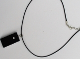 Domino necklace with faux leather cord