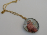 glass wirewrapped pendant Cardinal with chain