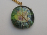 glass wirewrapped pendant  yellow flower with chain