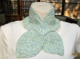 HandKnit Blue cotton scarf