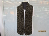 Handknit Unisex scarf  black and gold