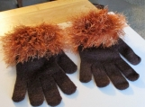 knit stretch gloves with faux fur trim one size fits all